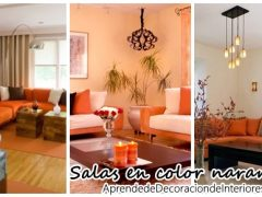 Decoración de salas de estar en color naranja