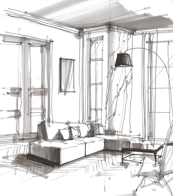 dibujo a lapiz para boceto de interiores