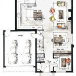 plano o boceto decoracion interiores casa grande
