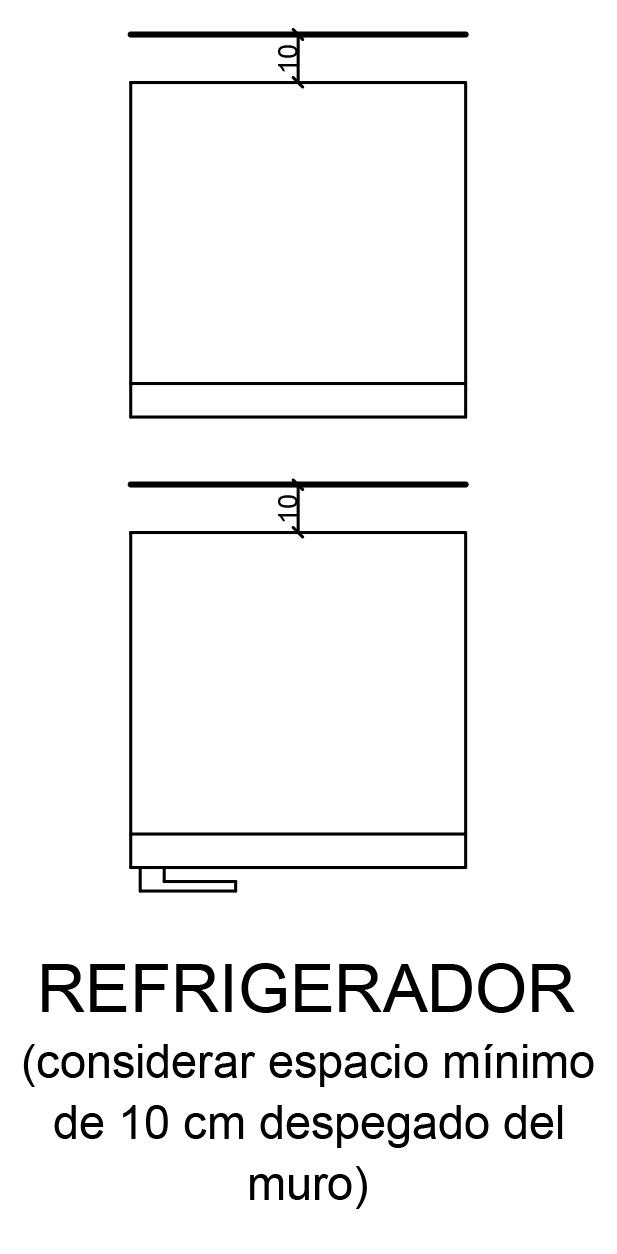representacion de refrigerador en plano arquitectonico