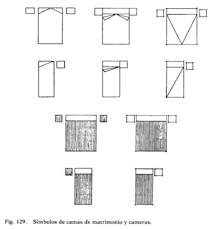 representacion de camas y dormitorios en plantas para planos arquitectonicos