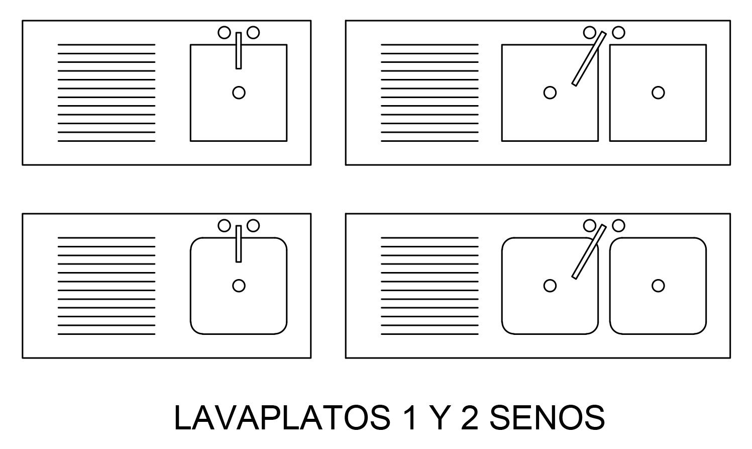 representacion de lavaplatos en plano arquitectonica