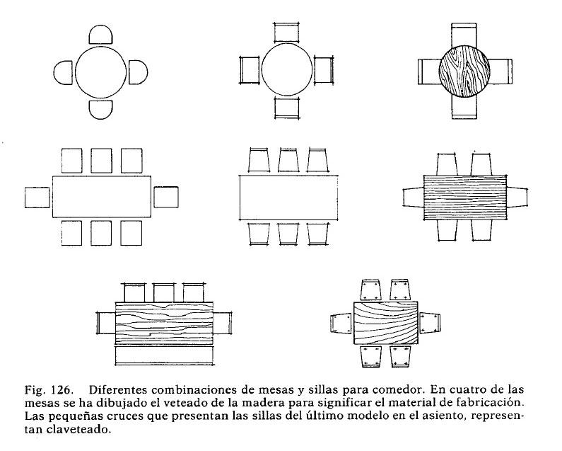 representacion de mesas sillas y comedores en planta para plano arquitectonico