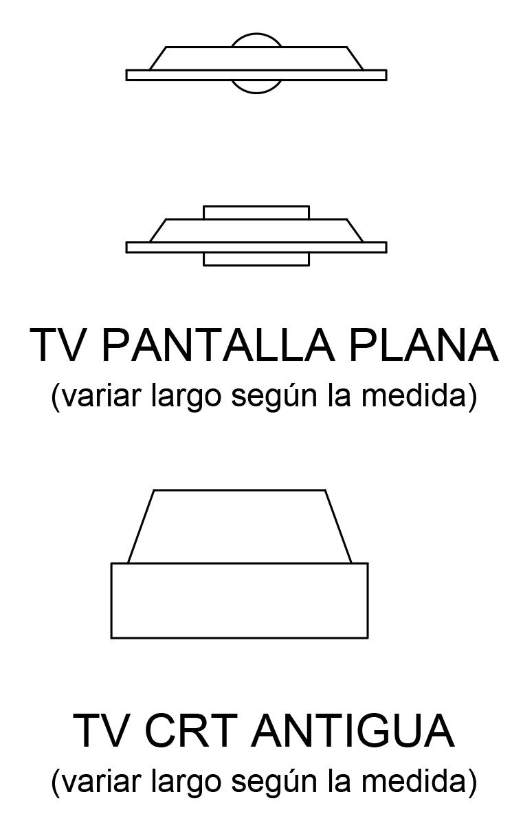 representacion de tv en plano arquitectonico