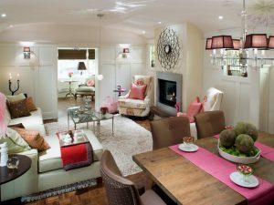 decoracion de salas modernas en color rosa por Candice Olson