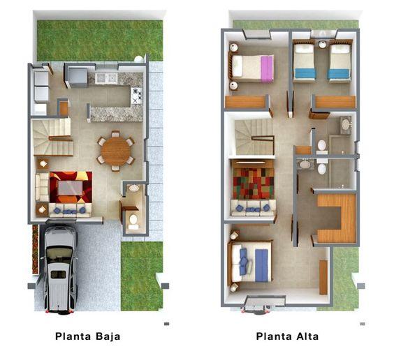 plano de casa de 7 metros de frente de dos pisos