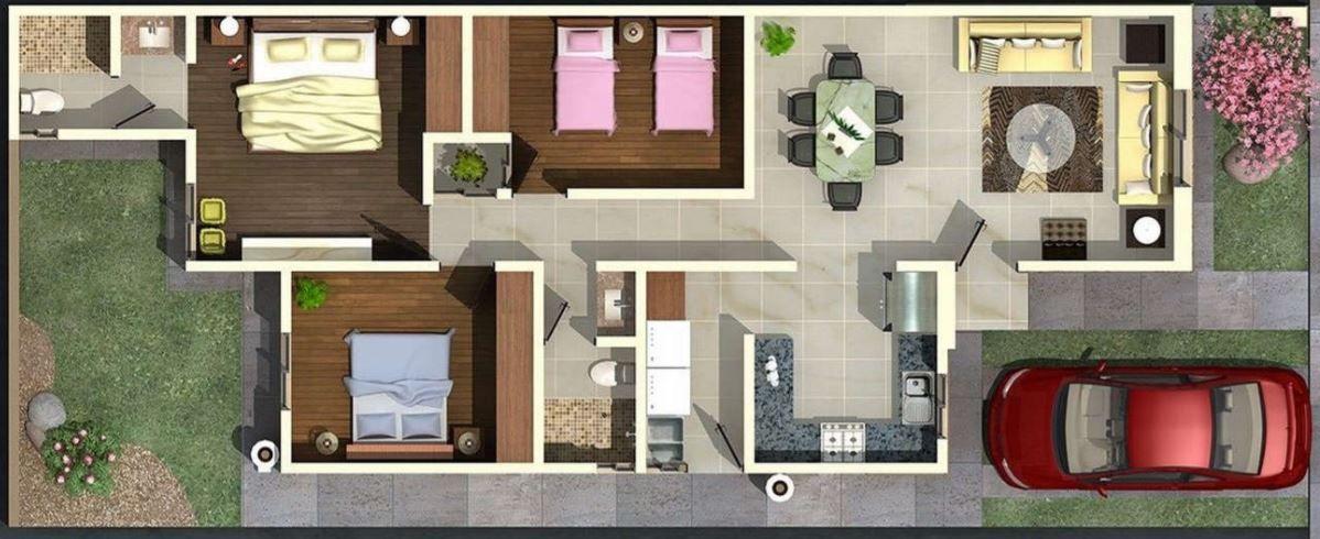 Plano para fachada de casa de 7 metros de un piso