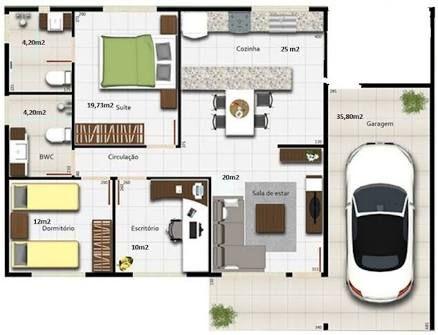 planos de casas de 7x12 metros