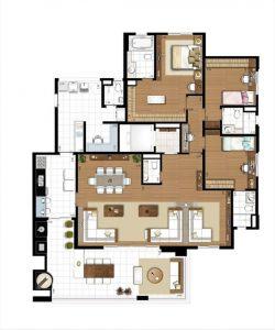 Diseño distribucion y decoración de casas de 190 m2