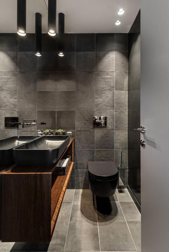 Colores de baños modernos en tonos negro