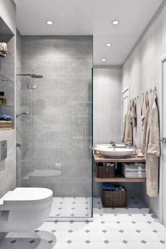 Colores para baños modernos con matices en gris