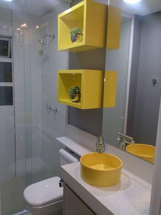 Colores para baños pequeños 2019 con toques divertidos