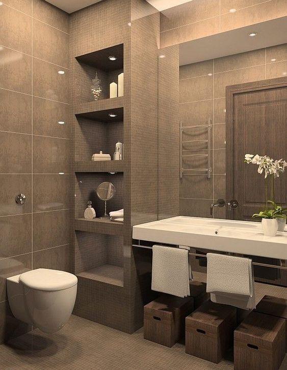 Colores para baños sencillos en tonos marrones