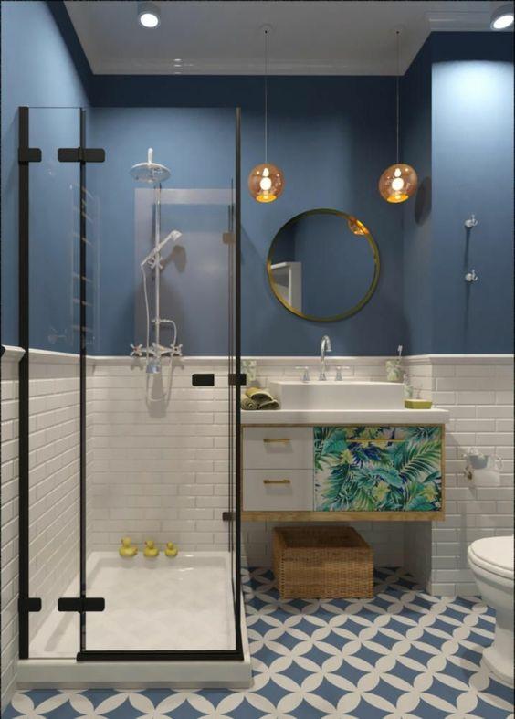 Decoracion de baños en color azul