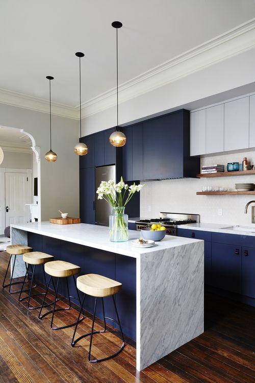 Cocinas en color azul y blanco