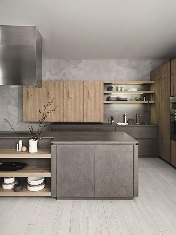 Cocinas en color gris y cafe