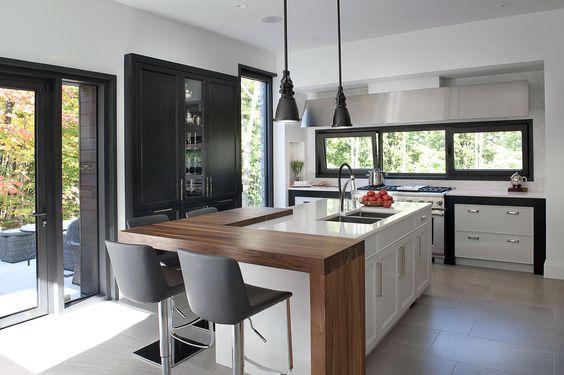 Cocinas modernas con isla central y desayunador