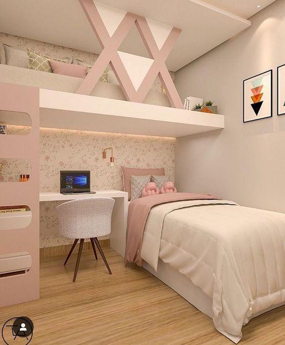 Decoracion de dormitorios tonos rosados con cuadro sobre la pared