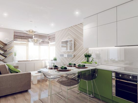 Decoracion de sala comedor cocina juntos minimalista