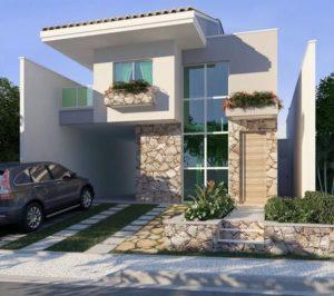 Fachadas de casas pequeñas con cochera y teja
