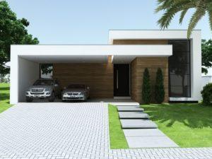 Fachadas de casas pequeñas de una planta con diseño abierto