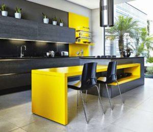 Gris y amarillo para cocinas
