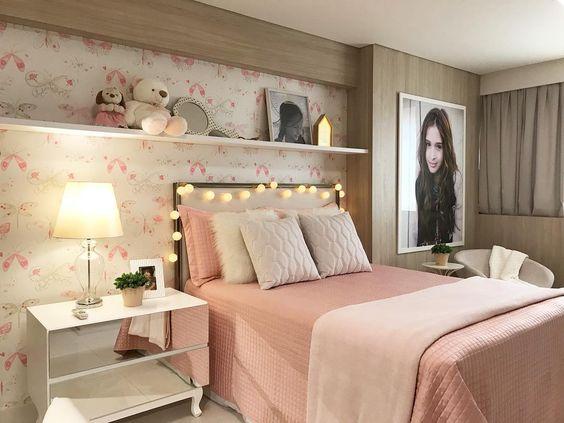 Habitaciones rosa viejo para adolescentes