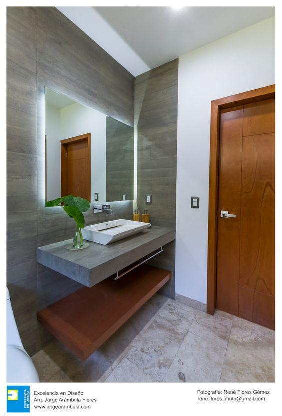 Ideas en decoracion de baños con gris y cafe