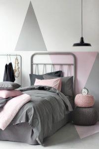 Pared rosa y gris para habitaciones modernas