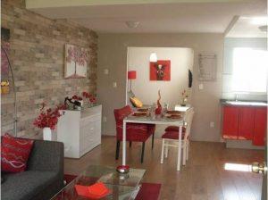 Sala comedor y cocina pequeños juntos modernos