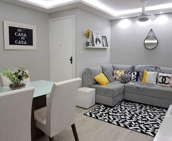 Sala Y Cocina Juntas Pequenas Con Tapiz Decoracion Interiores