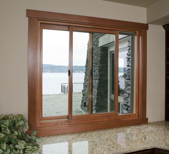 Ventanas modernas para exteriores con marco de madera