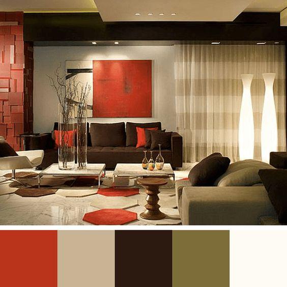 decoracion de salas color chocolate y naranja