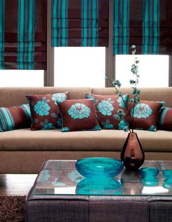 decoracion de salas color chocolate y turquesa