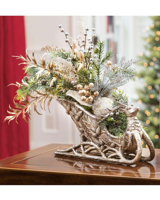 Adornos de mesa navideños con herrería elegantes