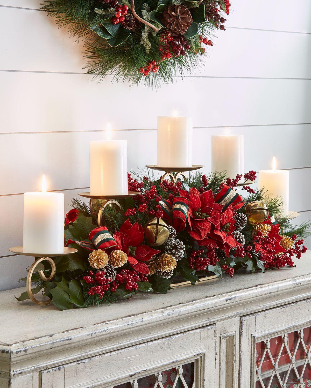 Centros de mesa navideños en bases metálicas