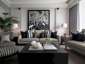 muebles en color negro para salas clasicas