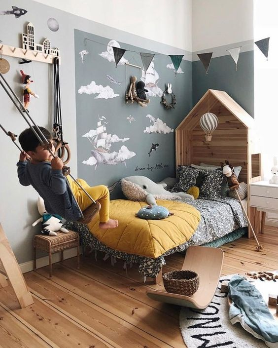 decoracion dormitorios infantiles sencillos con lugares para jugar
