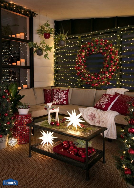 ideas para decorar la sala de estar con detalles navideños confortables