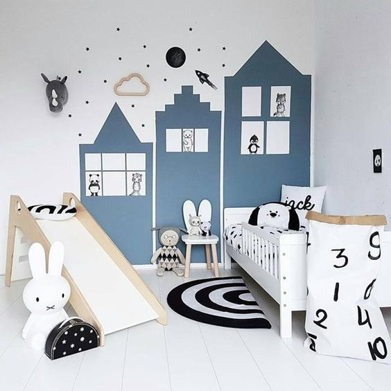 recamaras para niños con camas de madera tipo resbaladiza