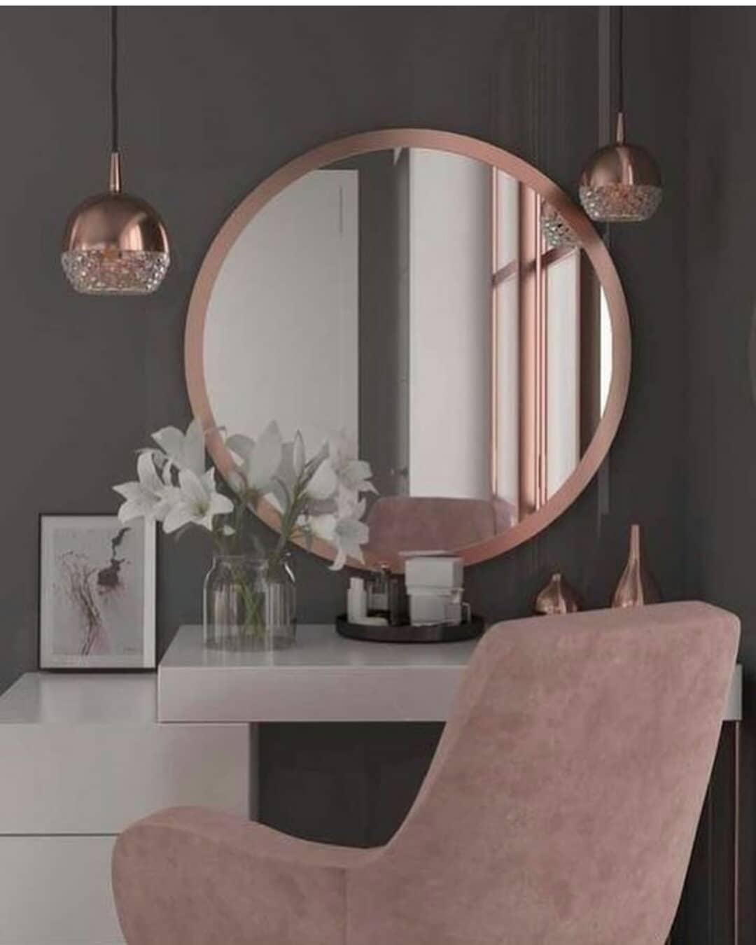 tocadores modernos de maquillaje con espejo circular