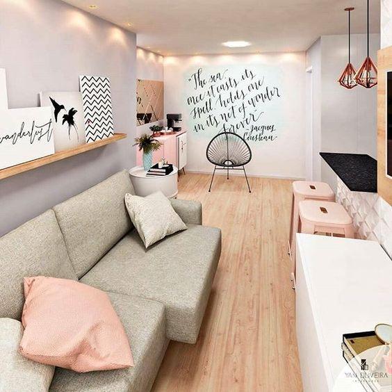 unifica espacios agregando el mismo piso a la decoracion de apartamentos pequeños