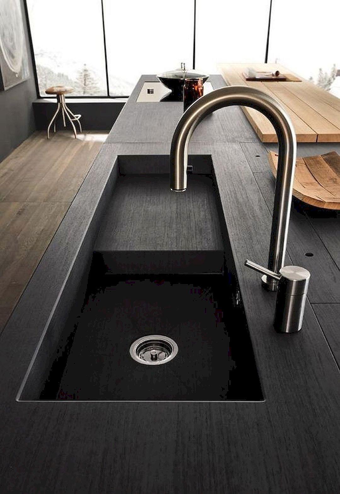 barras de cocina con azulejo negro