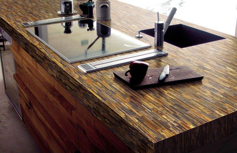 barras de cocina con azulejos tipo madera