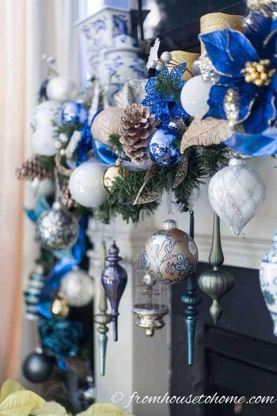 decoracion navideña en color azul