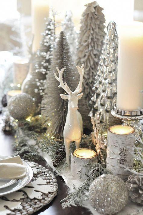 ideas para decorar la navidad en color blanco