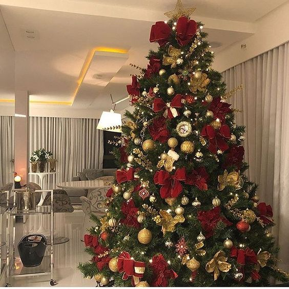 arbol de navidad plateado dorado y rojo