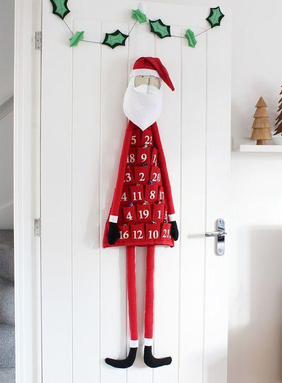calendarios navideños de fieltro de santa claus
