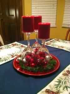 centros de mesa navideños caseros rojos