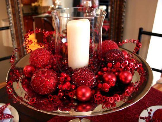 centros de mesa navideños economicos en color rojo